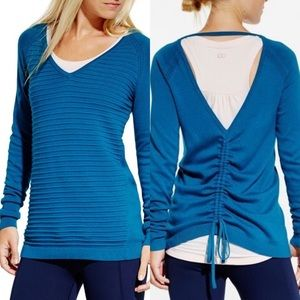 XS CALIA Teal Effortless Ruched Back Sweater
